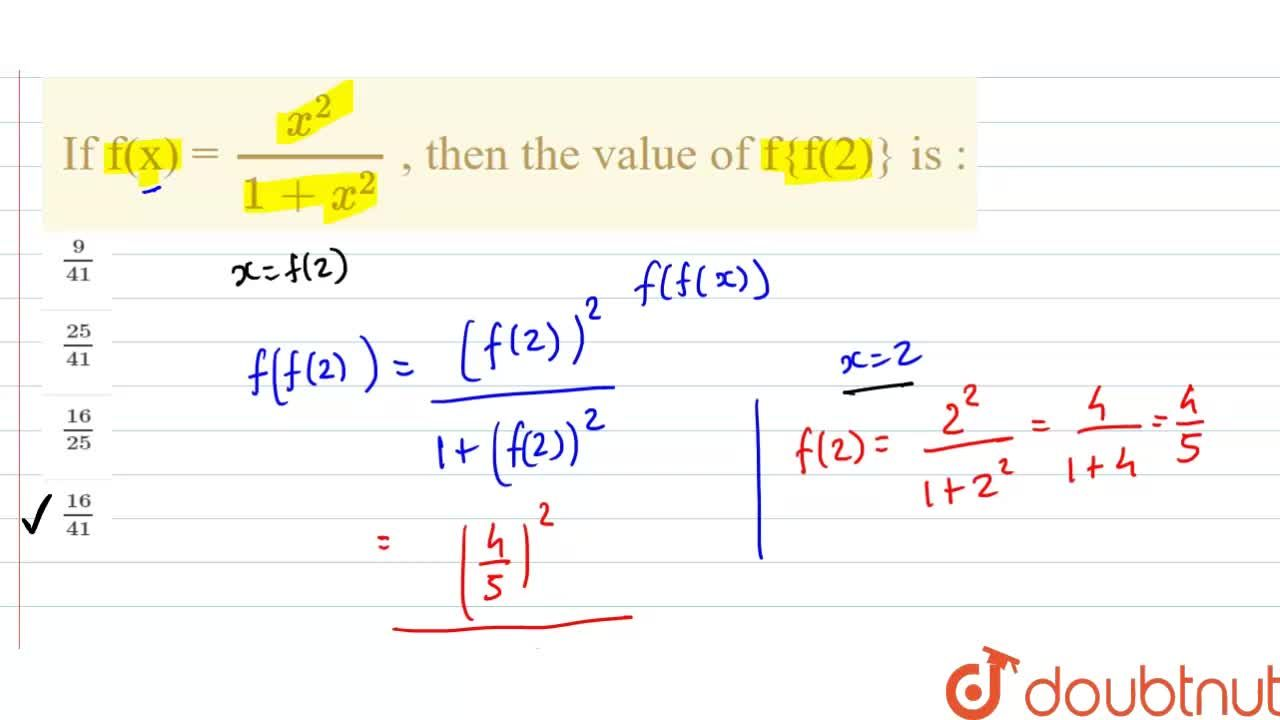 If f(x) = (x^(2)),(1 + x^(2)) , then the value of f{f(2)} is :
