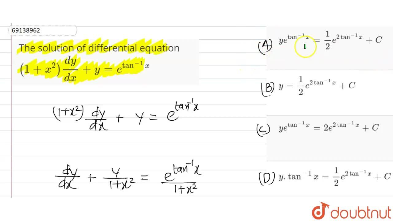 Solution for The solution of differential equation  <br> (1+x^