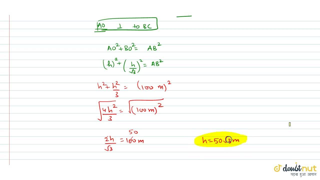 Solution for ABC is a triangular park with AB = AC = 100m. A
