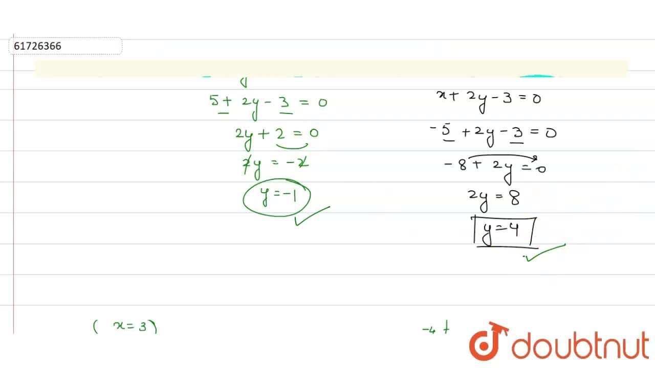 Solution for Draw the graph of the equation x+2y-3=0. <br> Fr