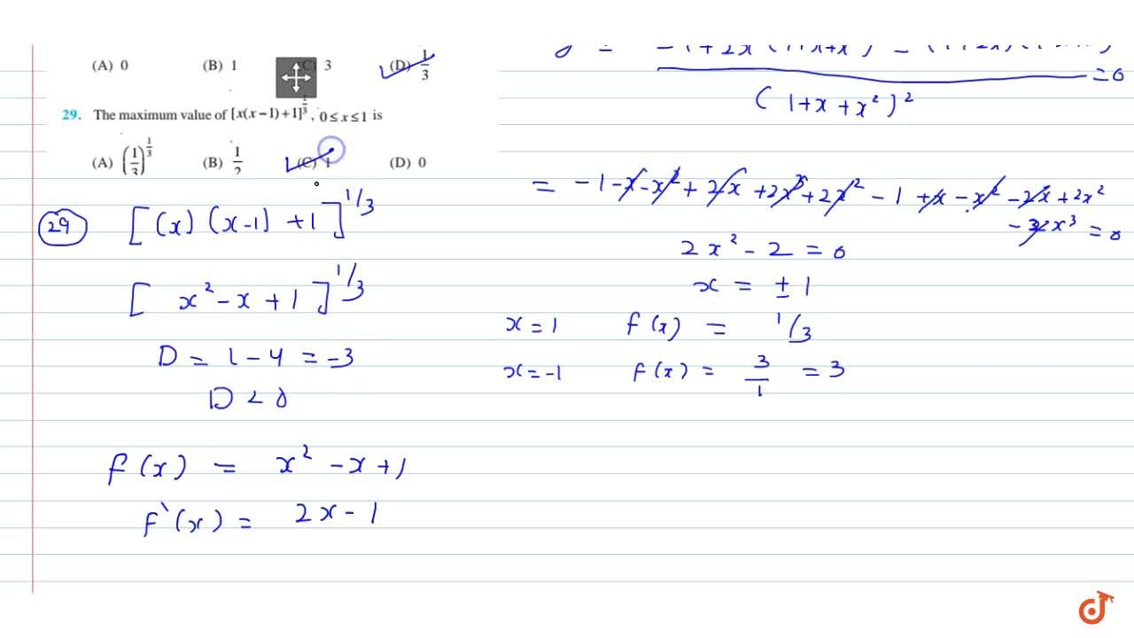 Solution for For all real values of x, the  minimum value of (