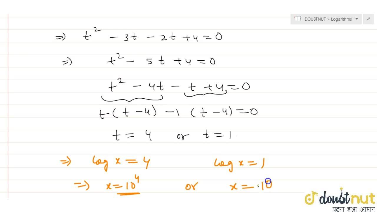 Solve following log equation log^2x-3logx=log(x^2)-4