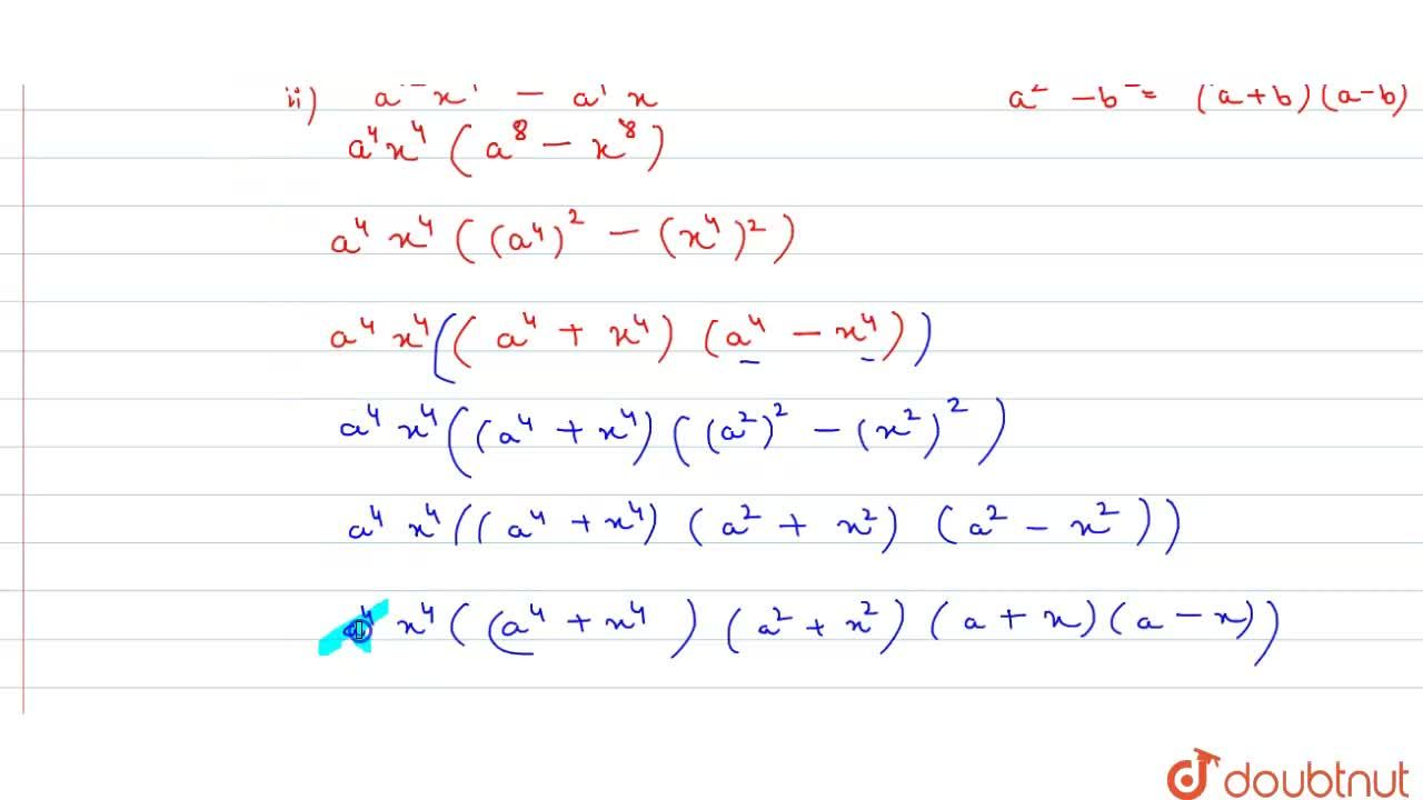 Solution for Factorize each of the following algebraic expressi