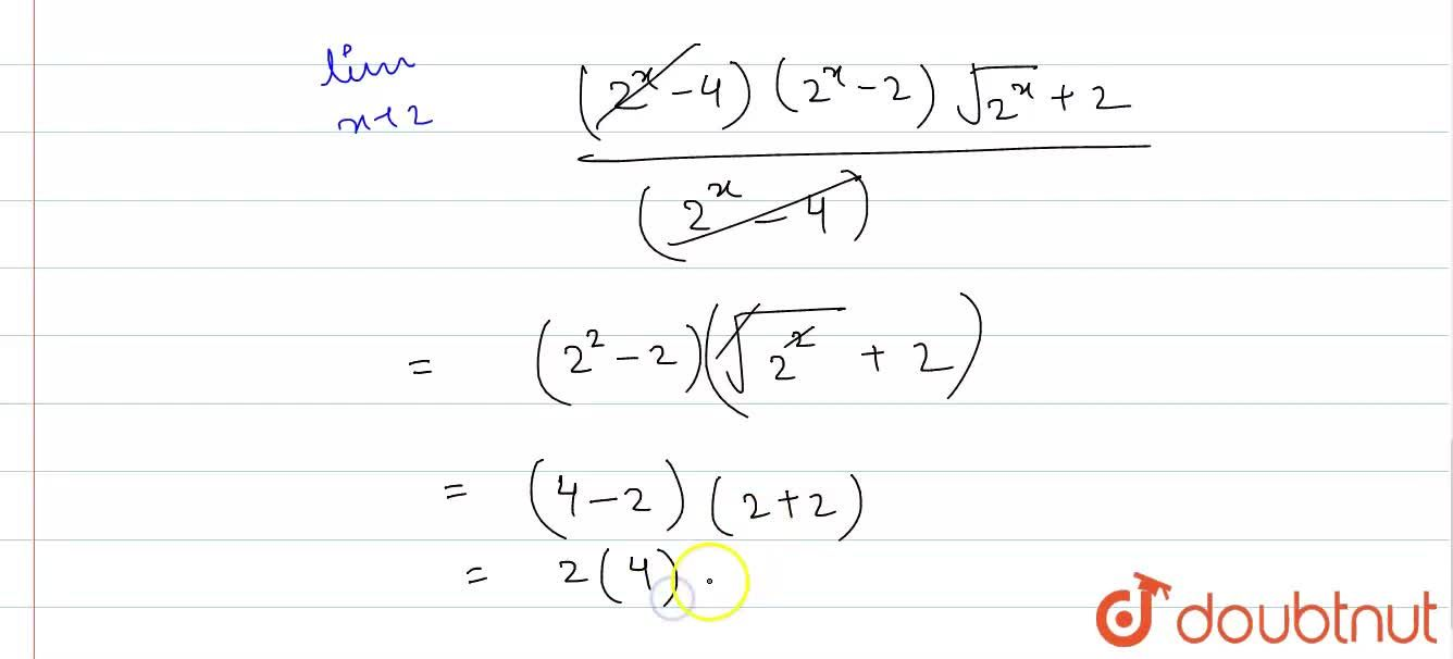 Solution for The value of underset(xto2)lim(2^(x)+2^(3-x)-6),(