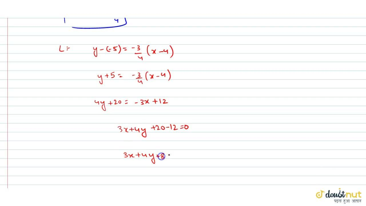 Solution for Find the equation of the line parallel to 3x + 4y
