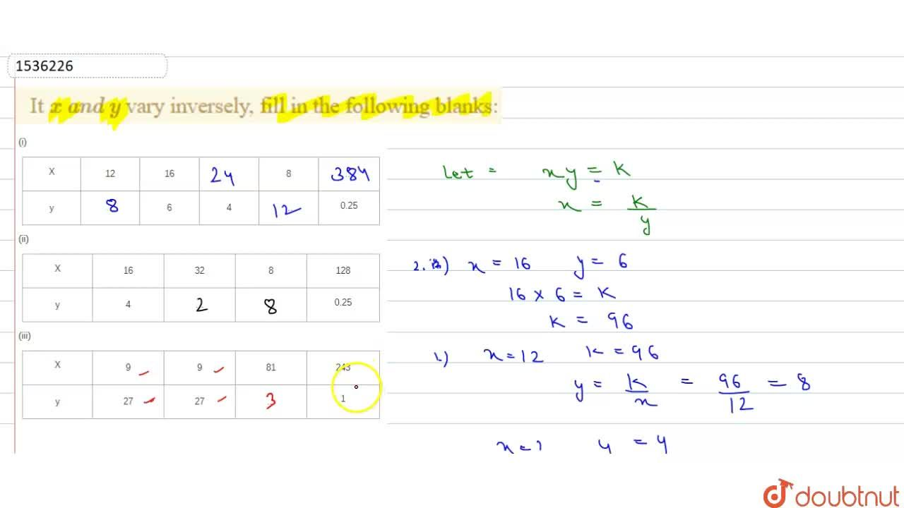 Solution for It x\ a n d\ y vary inversely, fill in the follo
