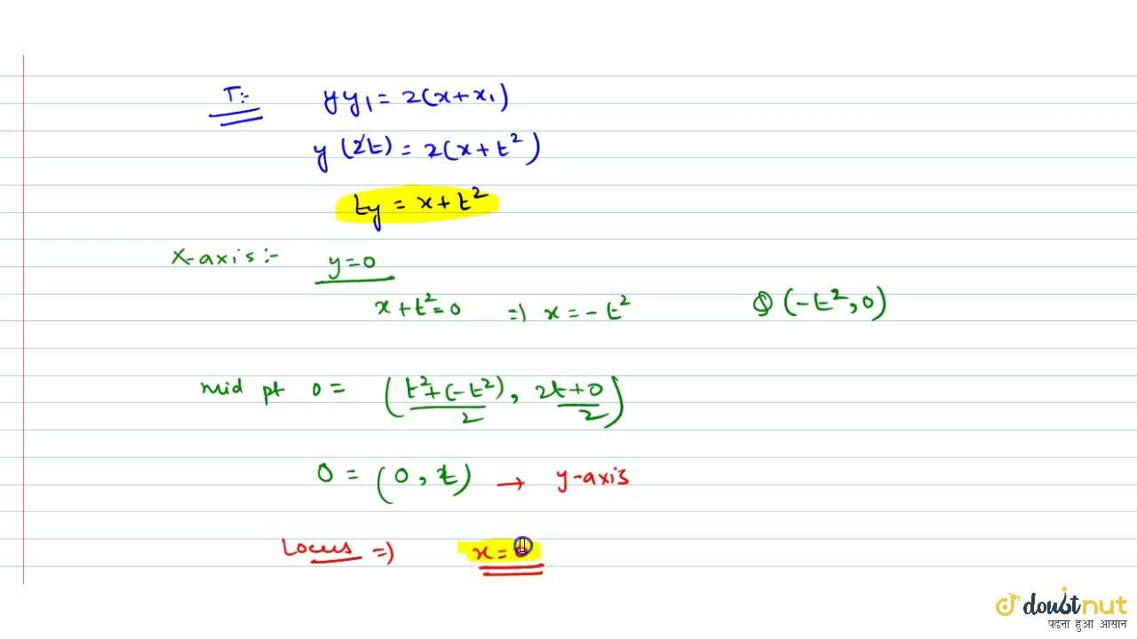 Solution for The tangent at any point P on y^2 = 4x meets x-a