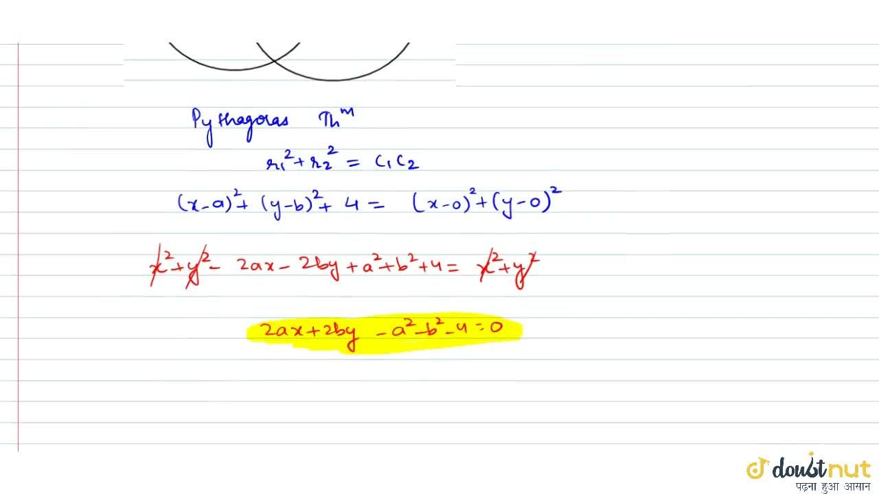 Solution for  If a circle passes through the point (a, b) and