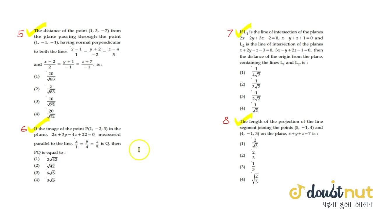 Solution for 3 DIMENTIONAL GEOMETRY   JEE Mains 2019  Lecture 1