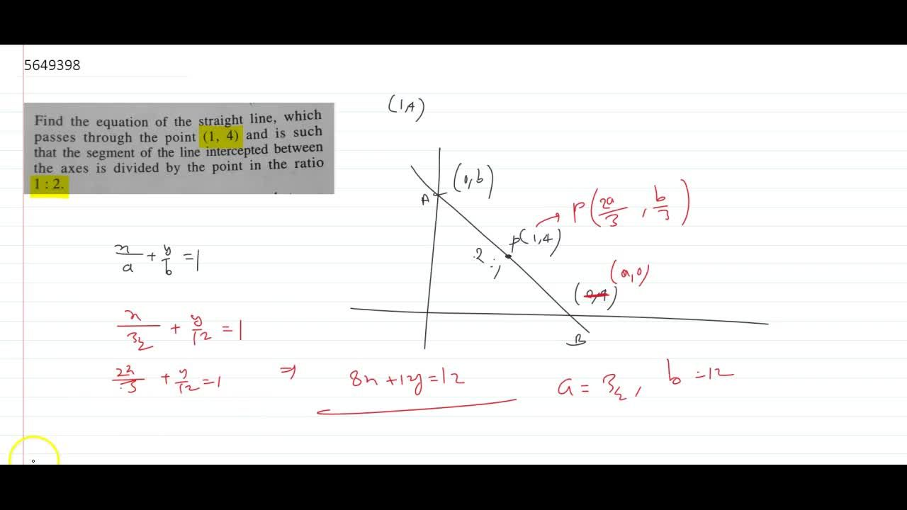Solution for (i) Find the equation of the straight line, which