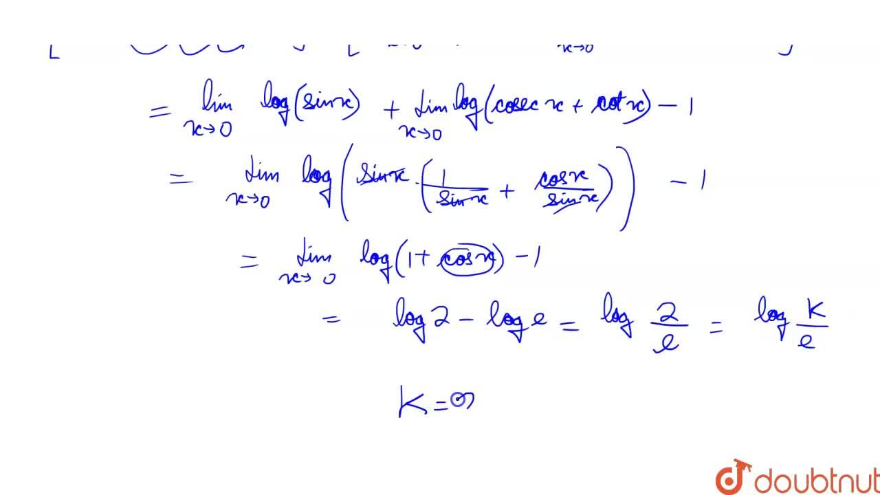 Solution for If= int_(0)^(pi,,2) sin x . log (sin x ) dx = log