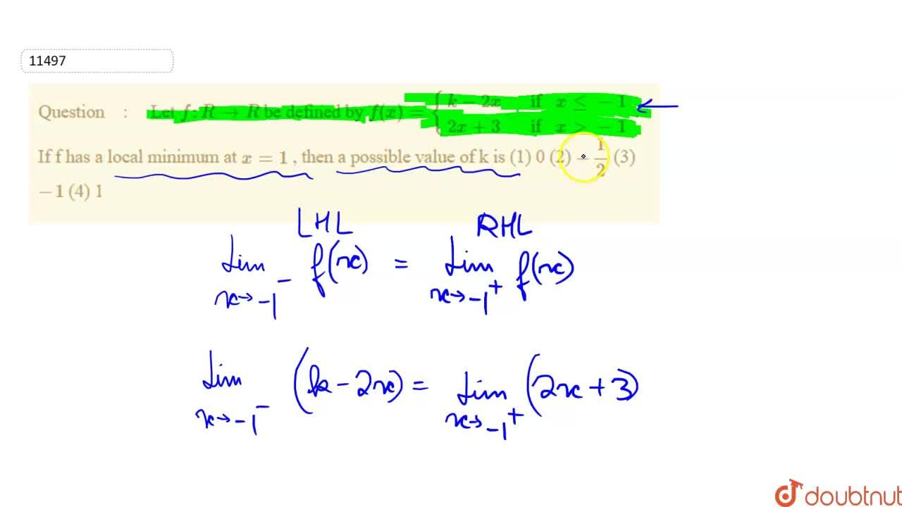"""Solution for  Let f:""""""""RrarrR be defined by f(x)={(k-2x , if"""