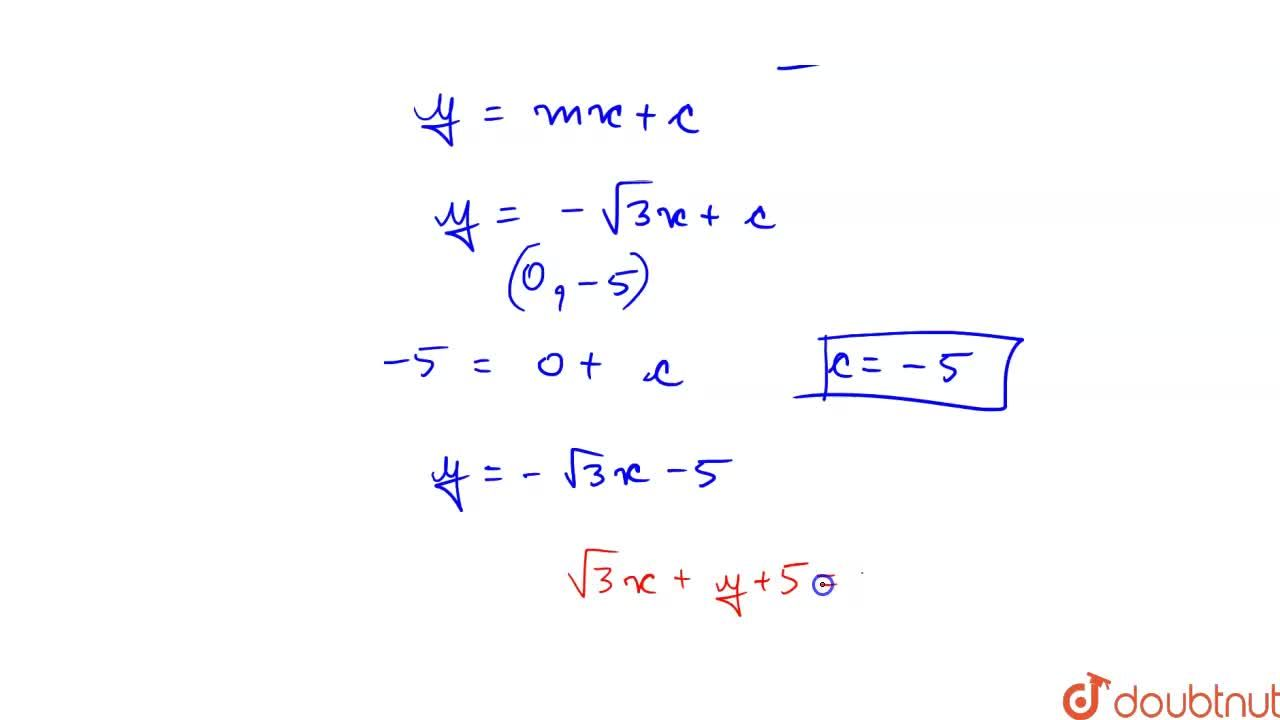Solution for The equation of a straight line which cuts off an
