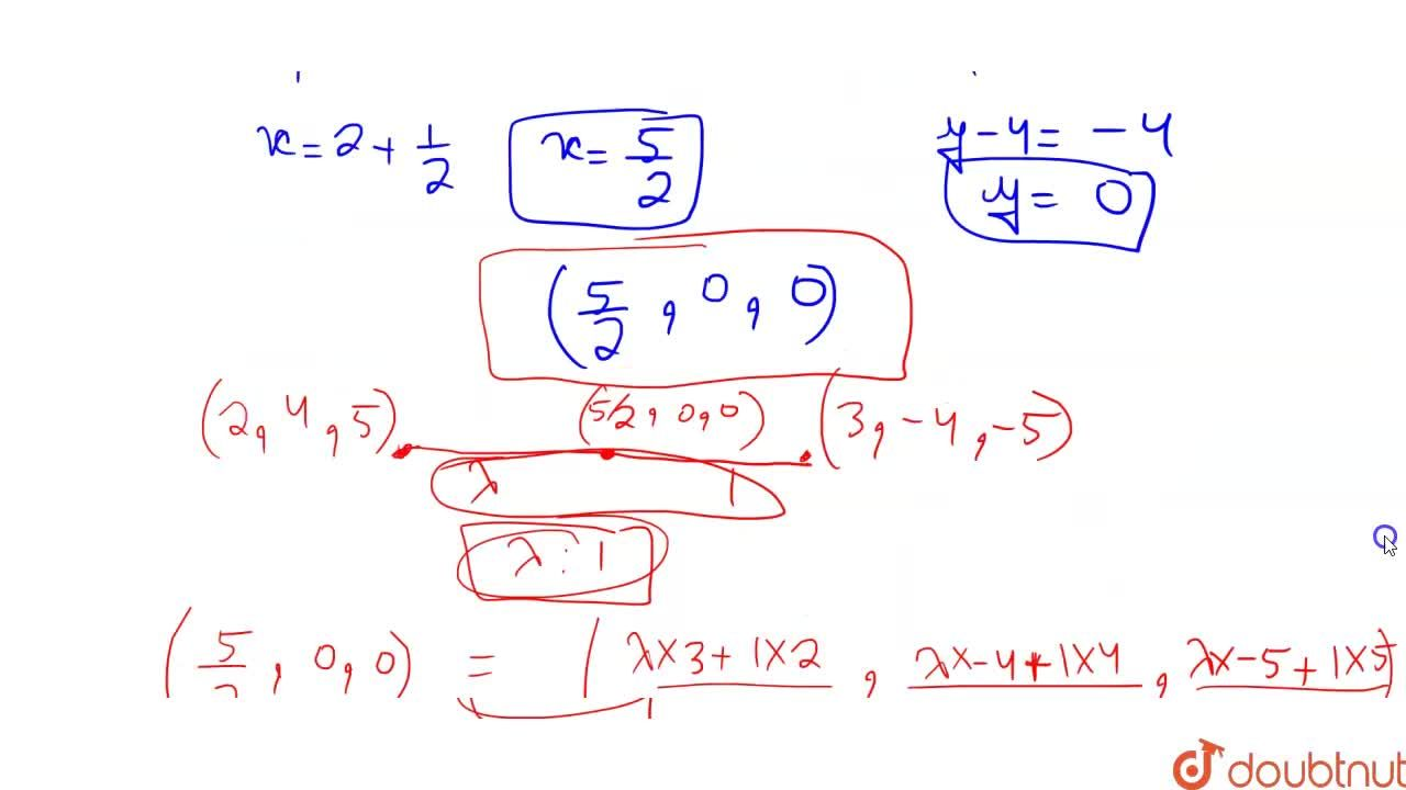 Solution for In which ratio the line segment joining the points