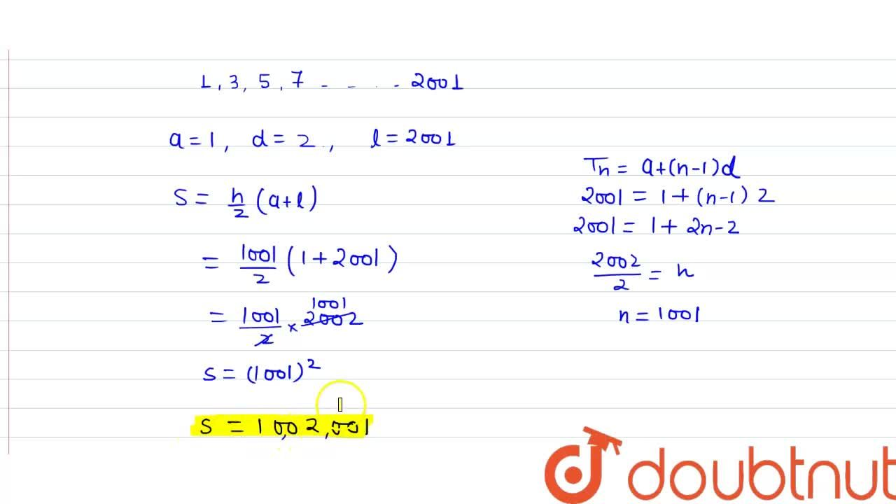 Find the sum of odd integers from 1 to  2001.