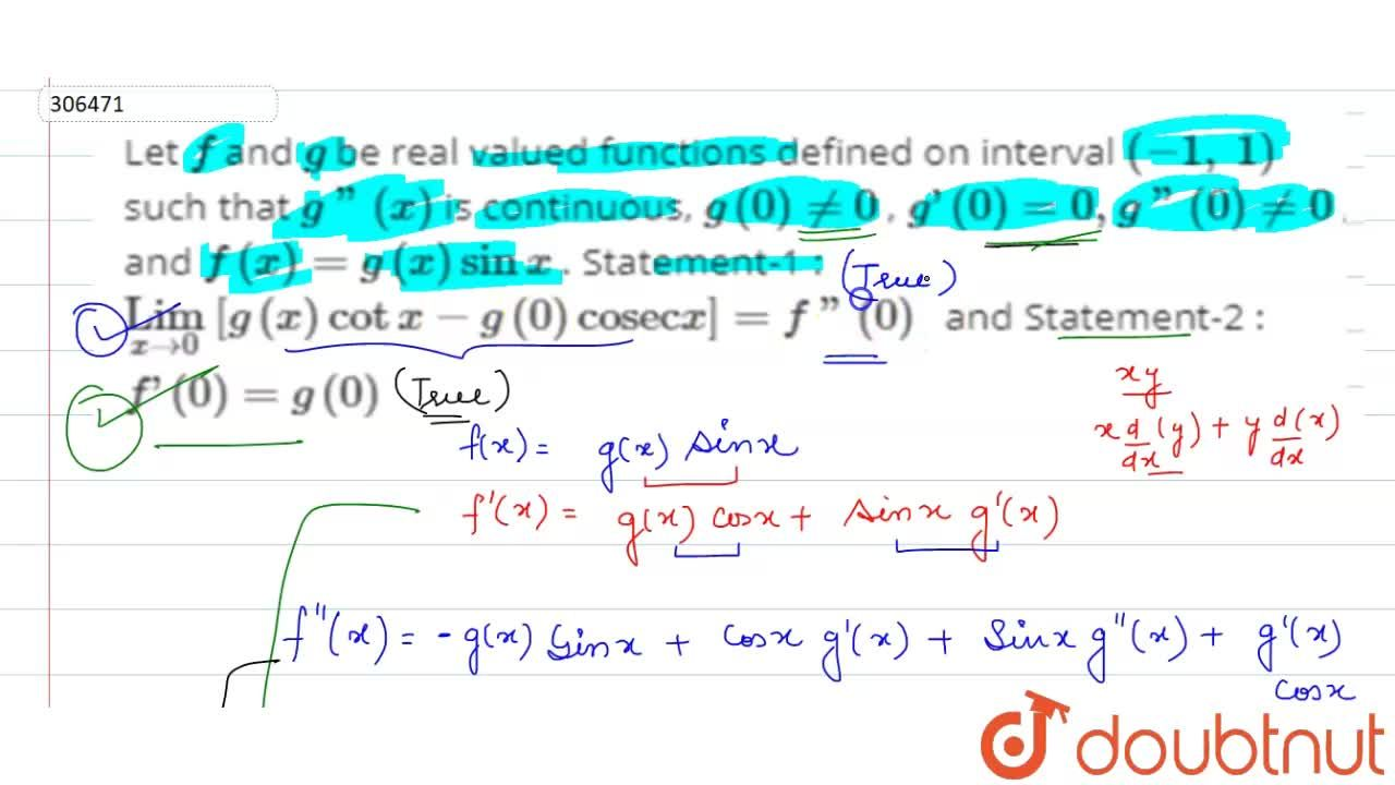 Solution for Let f and g be real valued functions defined o