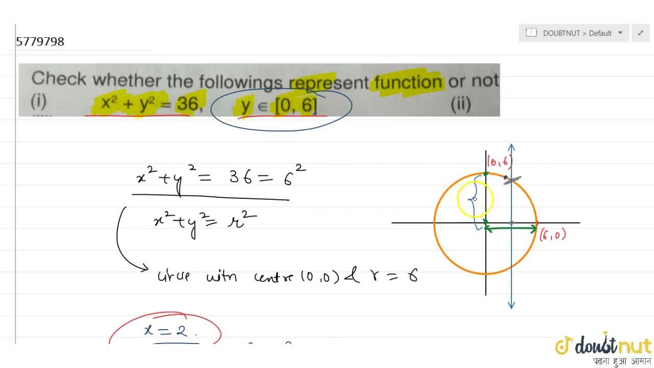 Check whether the followings represent function or not (i) x^2 + y^2 = 36, y in [0, 6]