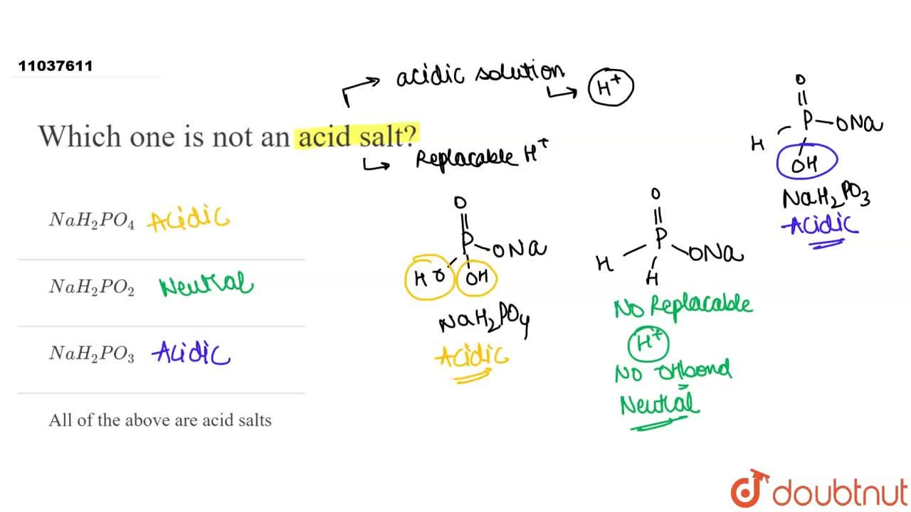 Solution for Which one is not an acid salt?