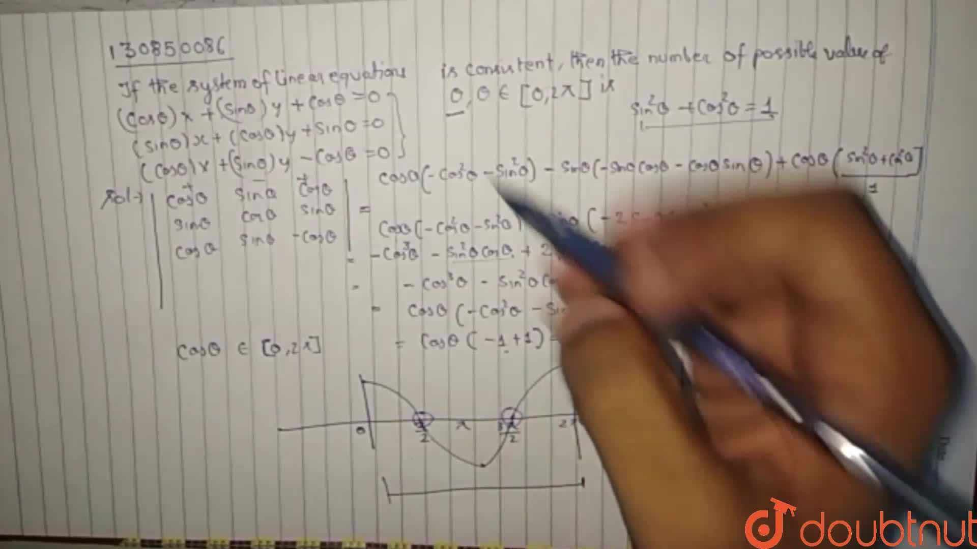 Solution for If the system of linear equations ( costheta)x+ (