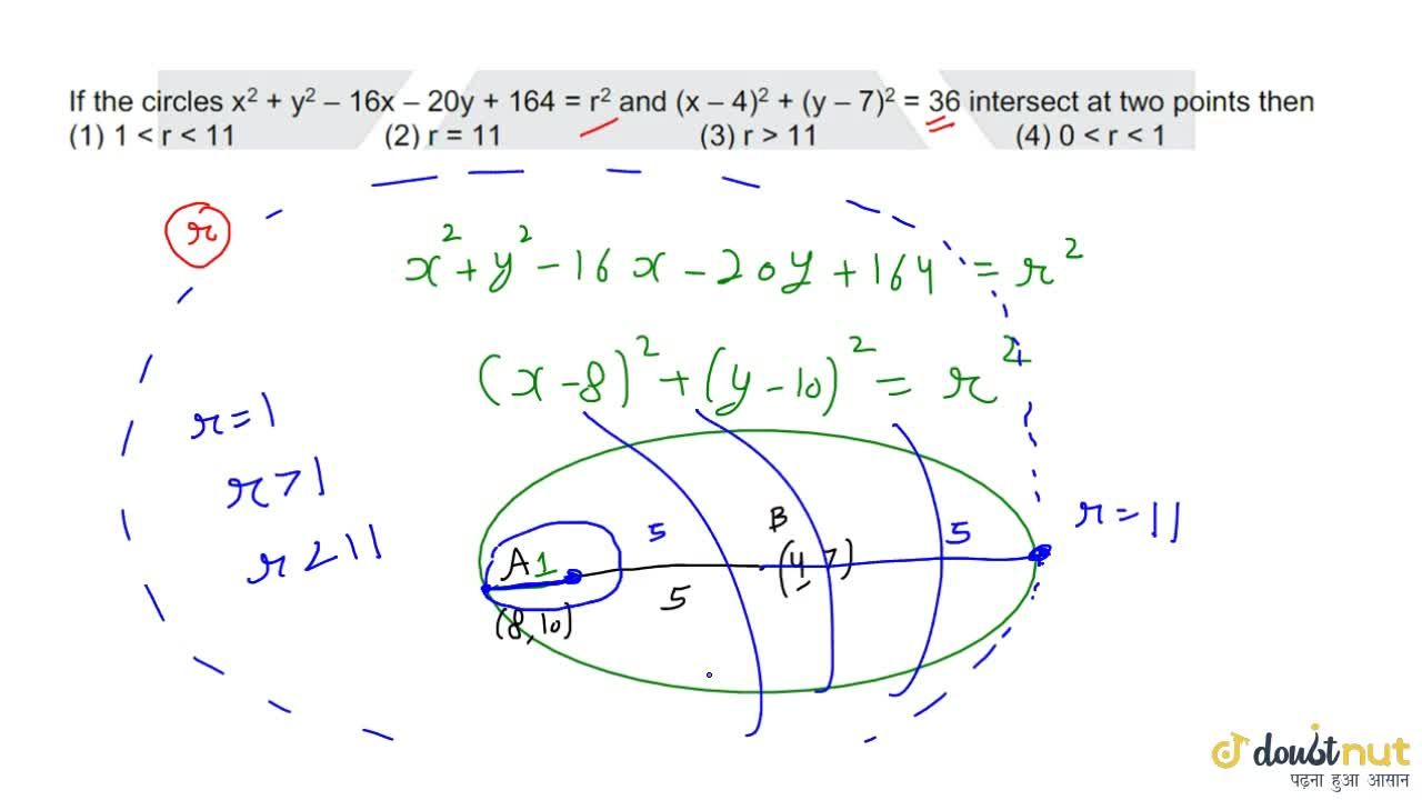 Solution for If the circles x^2+y^2-16x-20y+164=r^2 and (x-4