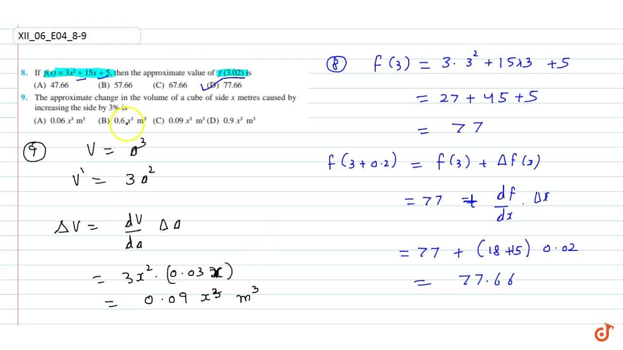 Solution for If f(x)=3x^2+15 x+5,then  the approximate value