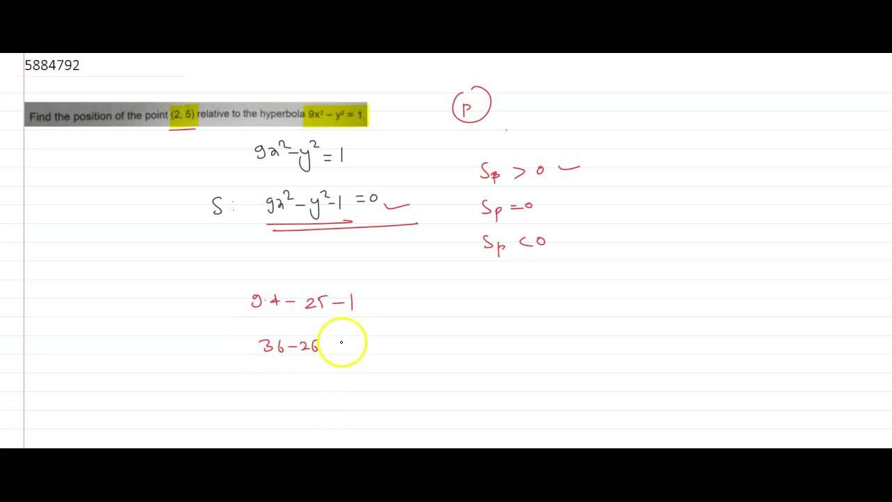 Solution for  Find the position of the point (2,5) relative t