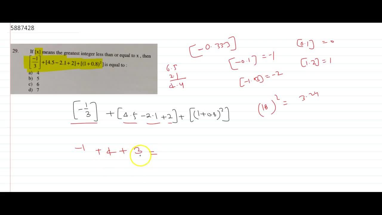 Solution for If [x] means the greatest integer less than or equ