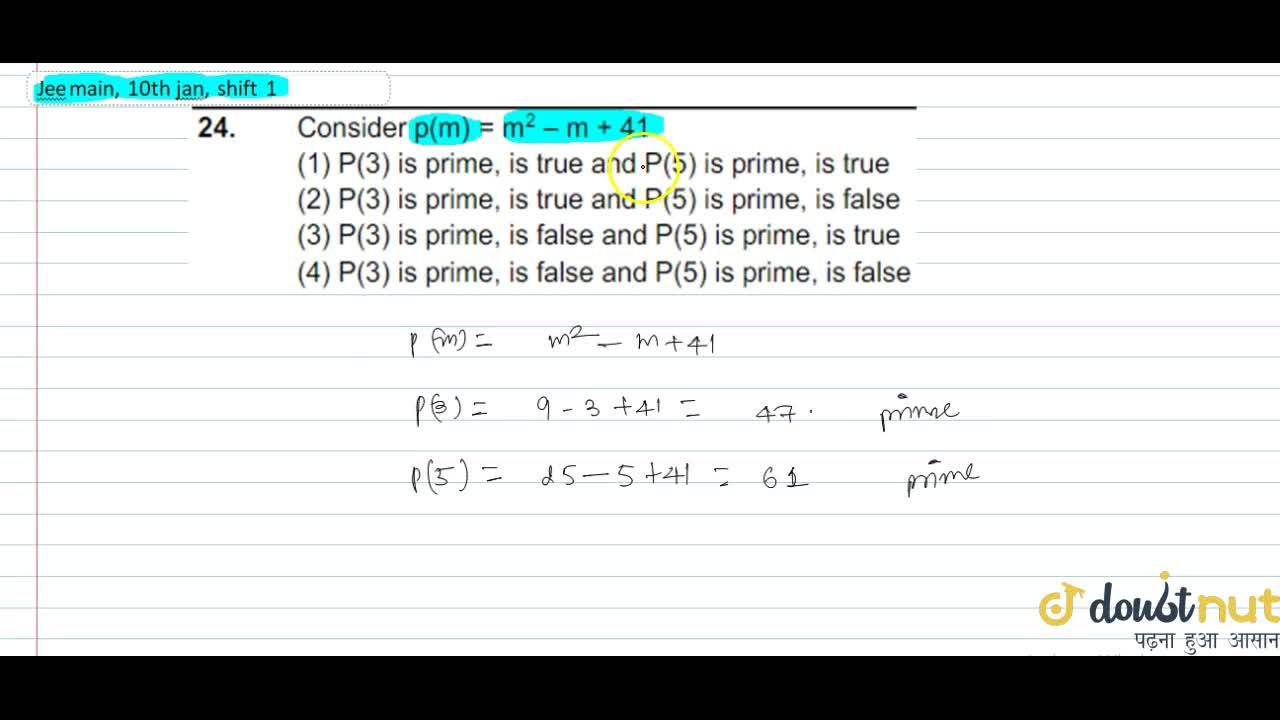 Solution for Consider p(m)=m^2 -m+41        (a) P(3) is pri