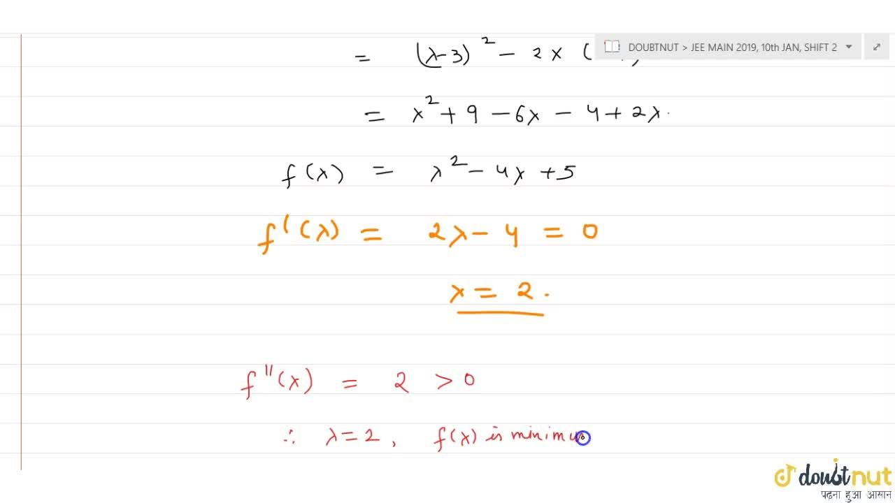 Solution for The value of lambda for which the sum of squares