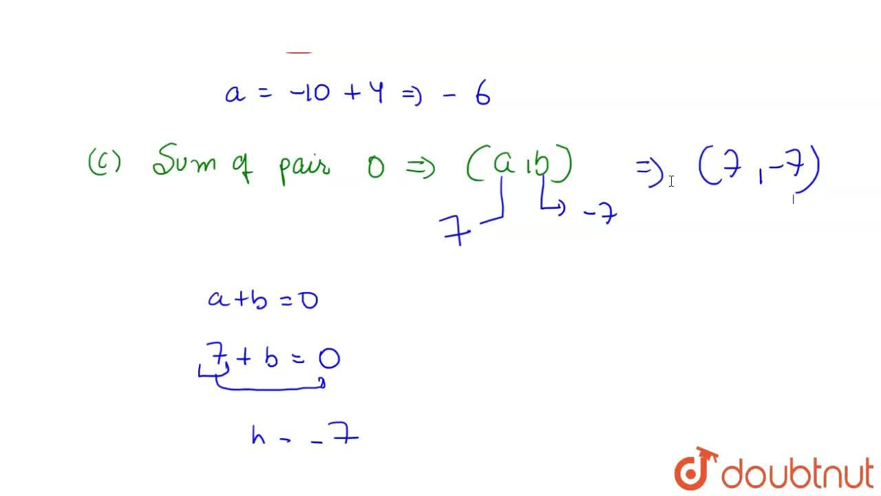 Solution for Write down a pair of integers whose: (a) sum is -