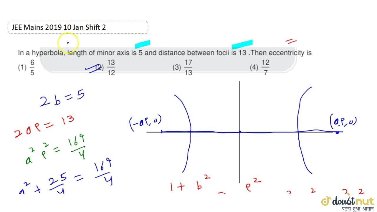 Solution for In a hyperbola, length of minor axis is 5 and dist