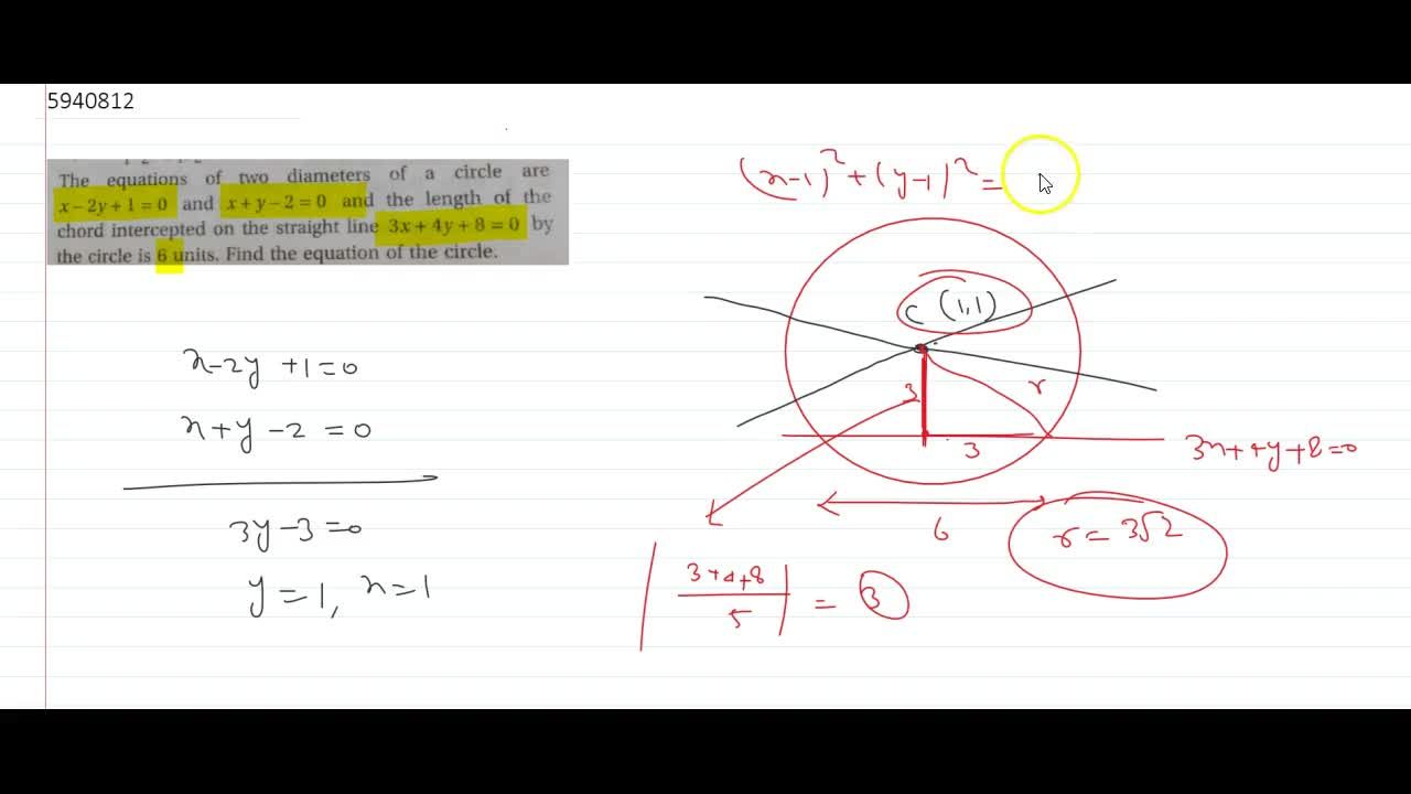 Solution for The equations of two diameters of a circle are x