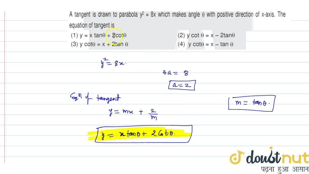 Solution for A tangent is drawn to parabola y^2=8x which make