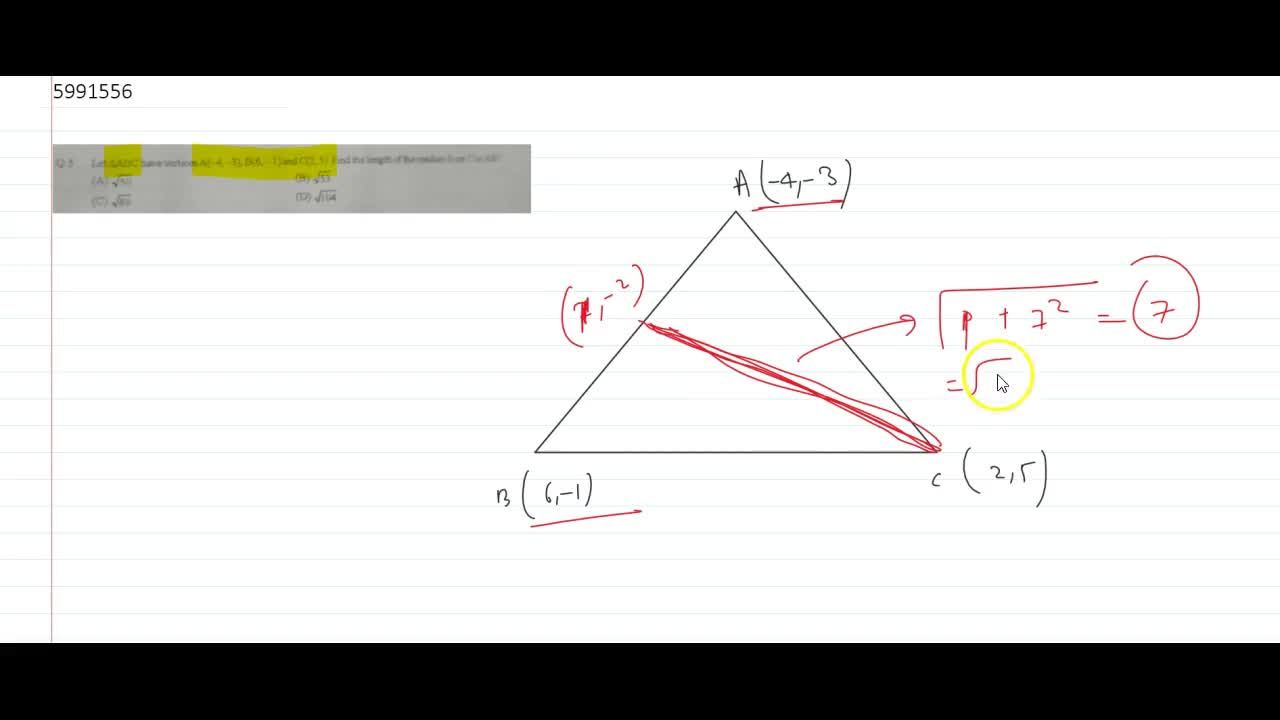 Let ABC have vertices A(-4,-3), B(6,-1) and C(2,5) Find the length of the median from C to AB
