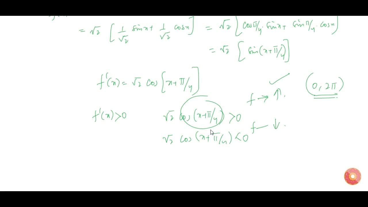 Find the intervals in which the function f given f(x)=\ s in x+cosx ,\ 0lt=x\ lt=2pi,\  is strictly increasing or strictly decreasing.