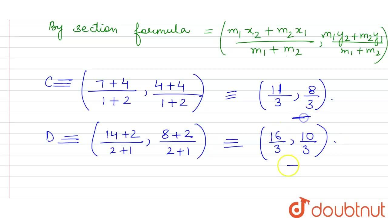 Solution for Find the coordinates of the points of trisection (