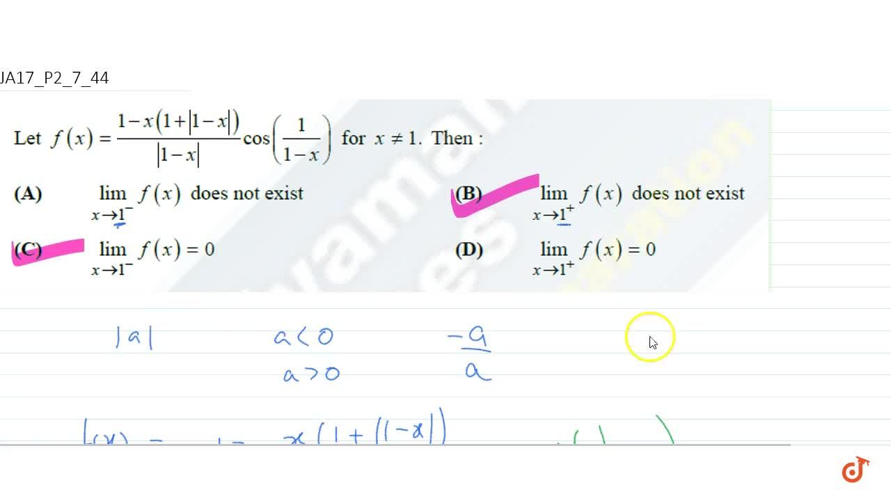 Solution for   Let f(x)=(1-x(1+|1-x|)),(|1-x|)cos(1,(1-x)) fo