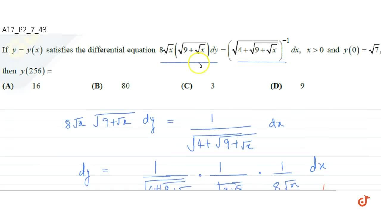 Solution for If y=y(x) satisfies the differential equation 8
