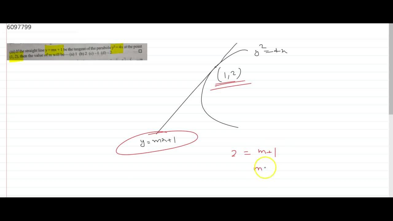 Solution for If the straight line y=mx+1 be the tangent of th