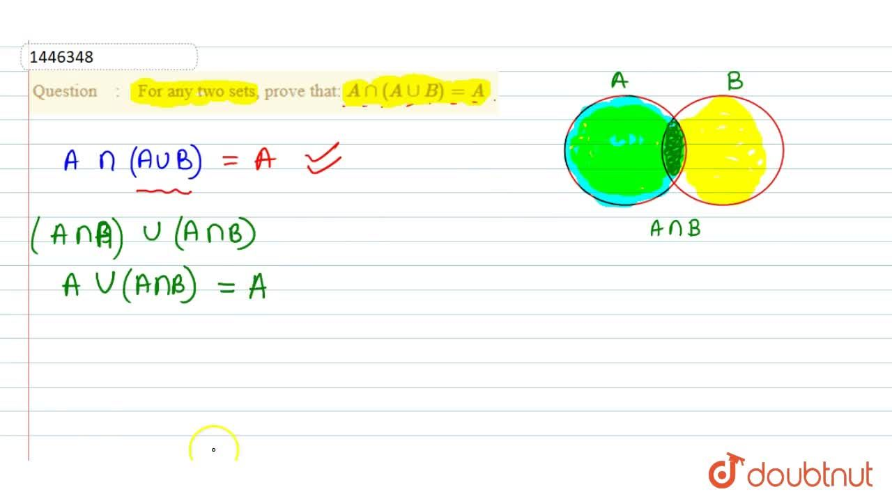 Solution for For any two sets, prove that:\ Ann(AuuB)=A