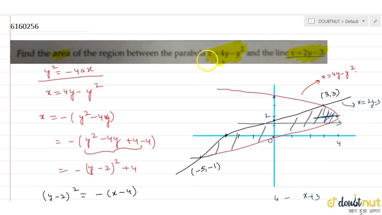 Find the area of the region between the parabola x=4y-y^2 and the line x=2y-3.