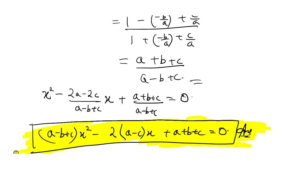 Solution for If roots of the equation a x^2+b x+c=0 are alp