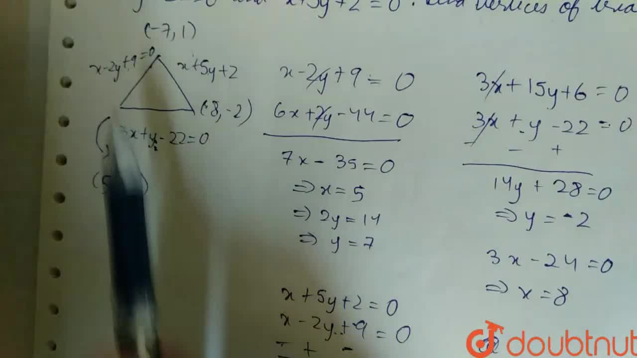 Solution for The sides of a triangle are given by x-2y+9=0, 3x