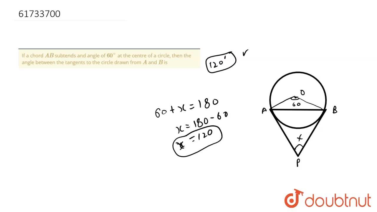 If a chord AB subtends and angle of 60^(@) at the centre of a circle, then the angle between the tangents to the circle drawn from A and B is