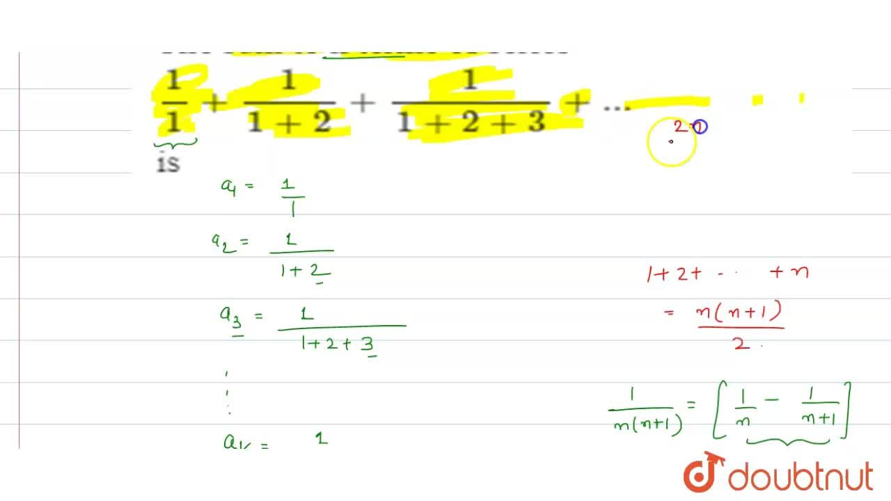 The sum to n terms of series 1,1+1,(1+2)+1,(1+2+3)+... is