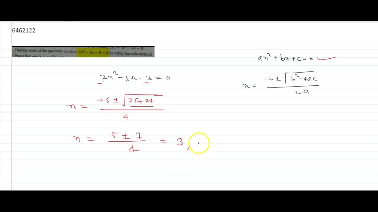 Solution for  Find the roots of the quadratic equation 2x^2 -