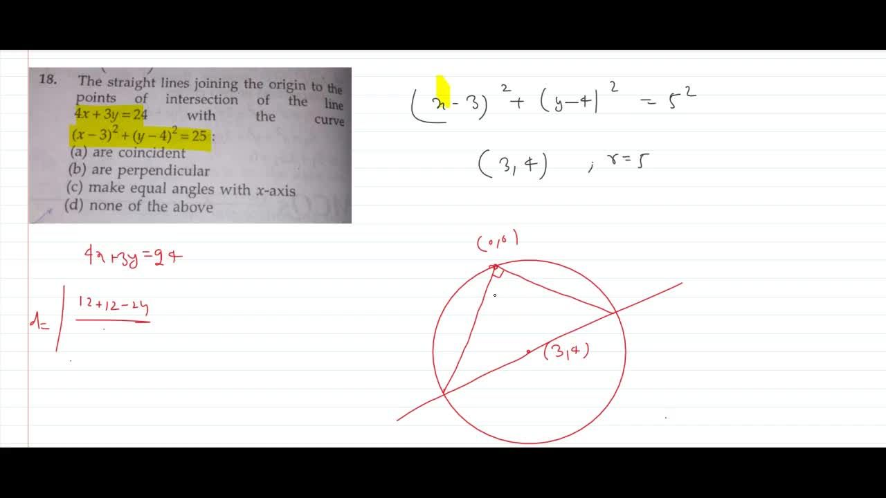 Solution for 18. The straight lines joining the origin to the p