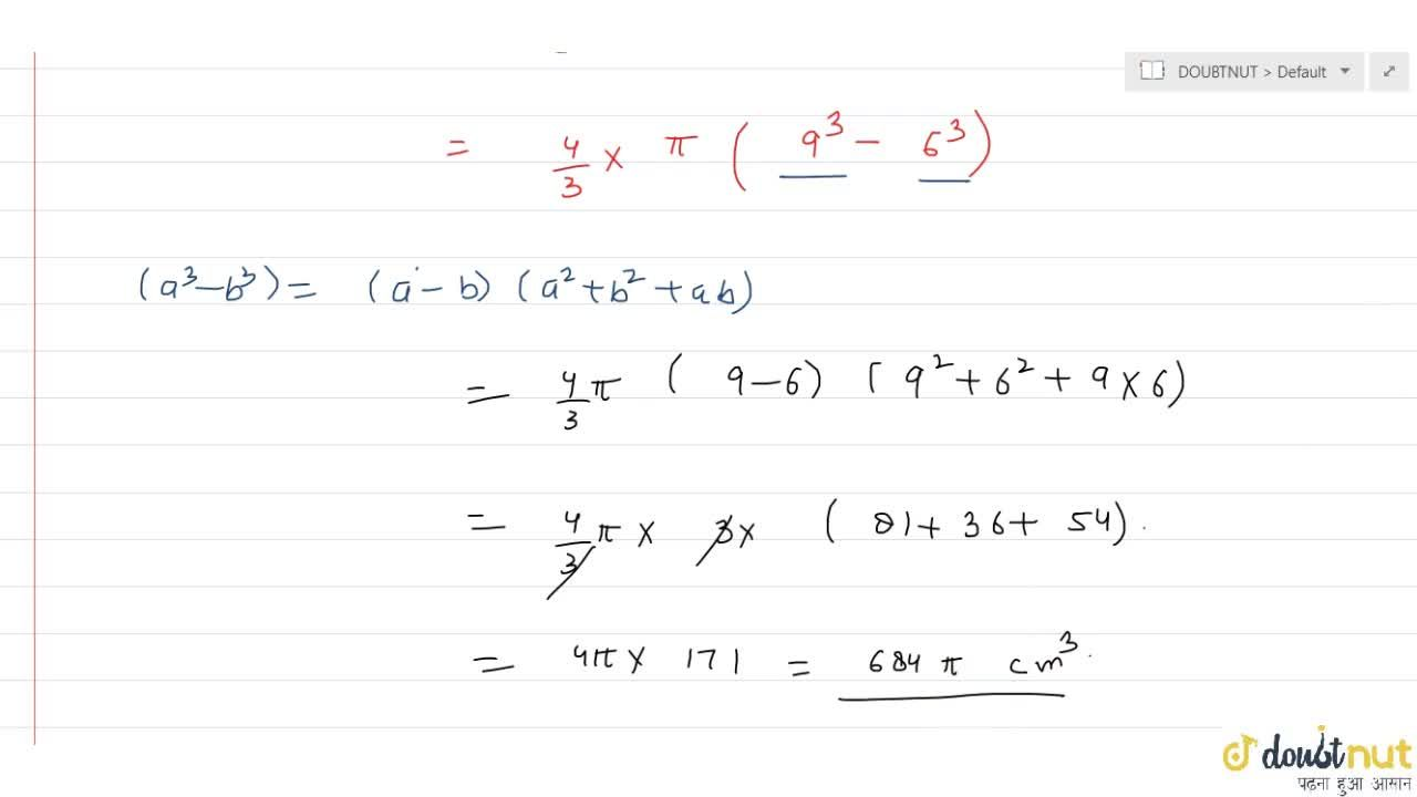 Solution for  Find the volume of a hollow sphere of outer radiu