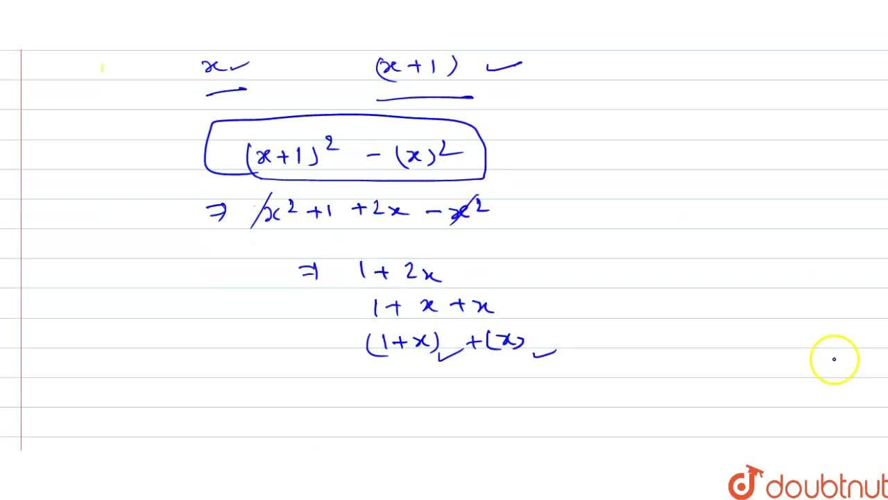 Solution for The difference between the squares of any two   c