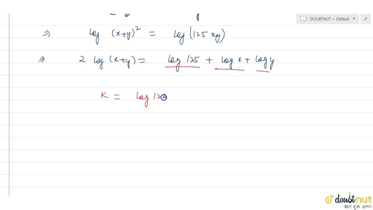 Solution for If (x - y)^2 = 121 xy and 2 log(x + y) = k + log